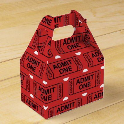 Fun Movie ticket pattern party favor box - diy cyo customize - create your own movie ticket
