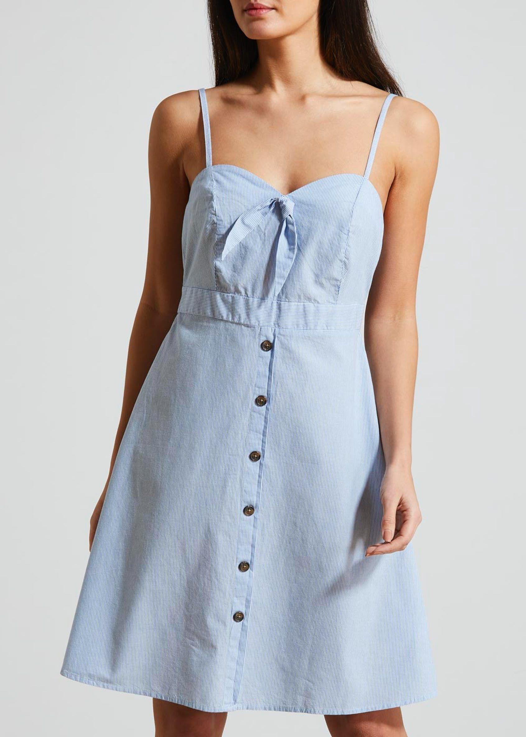 38111e806467 Tie Button Front Cami Dress – Blue – Matalan