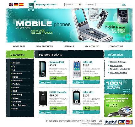 Communications Online osCommerce Templates by Glenn   Mobile Shop ...