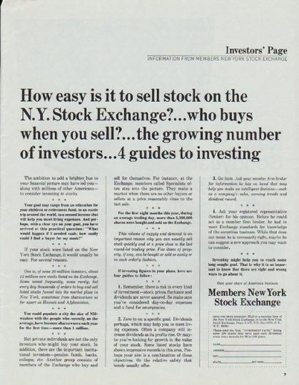 1965 Members New York Stock Exchange Vintage Ad How Easy Stock