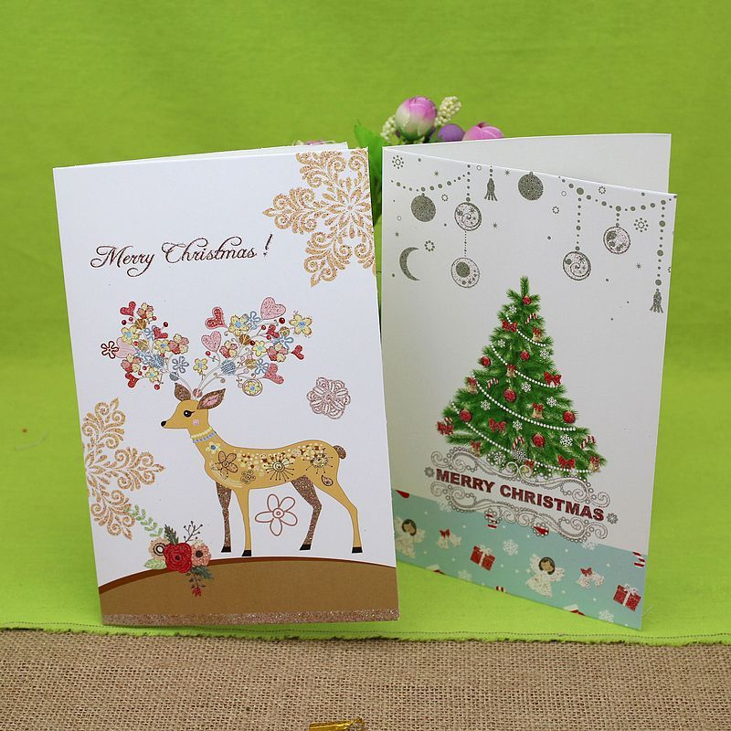 Homemade Christmas Birthday Cards New Year/'s Day Greeting Card Festival Gift