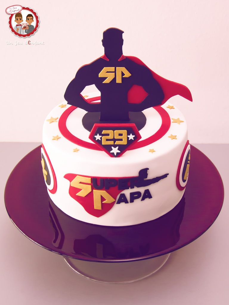 Gâteau Super Papa Super Dad Cake Un Jeu Denfant Cake Design