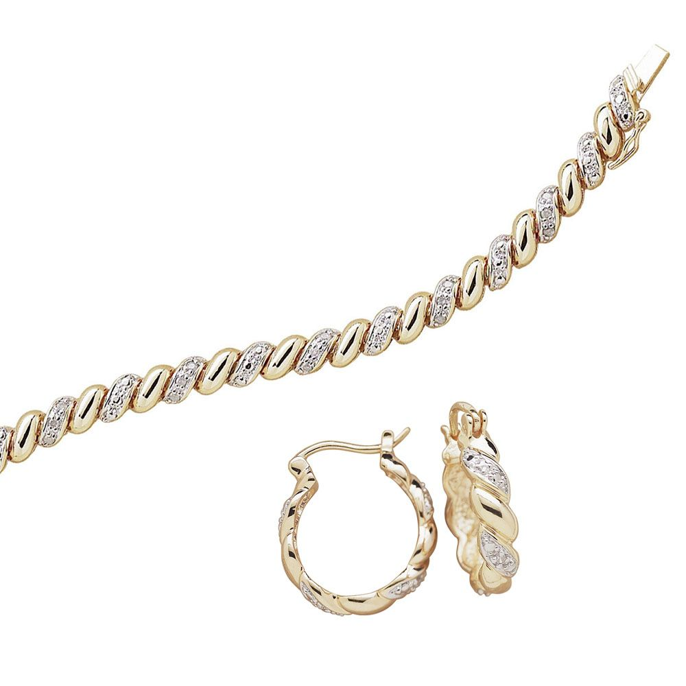 Buy Gold Over Sterling Diamond 1 4 Carat San Marco Tennis Bracelet With Free Earrings At Limoges Limoges Jewelry Free Earrings Personalized Jewelry