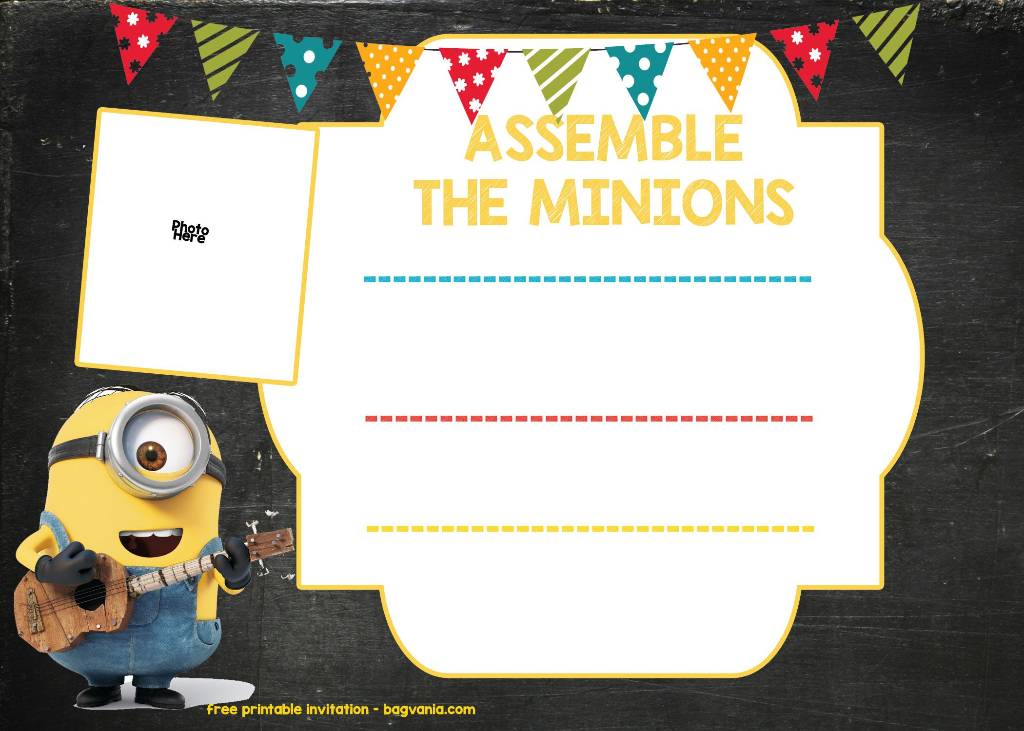 Download Now Minion Birthday Invitation Template FREE Download - Party invitation template: minion birthday party invitations templates