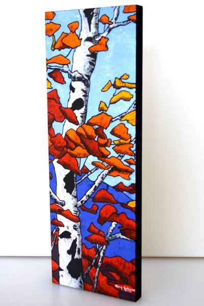 Birch Tree Colorful Wood Mounted Canvas Art by nativebynature, $26.47