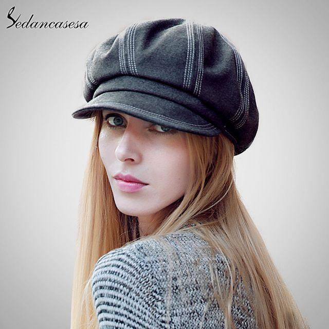 Fashion Cute Newsboy Cap 2015 Autumn Winter Female Casual Outdoor Warm Hat  For Women WG120066   4e6cc3946a30