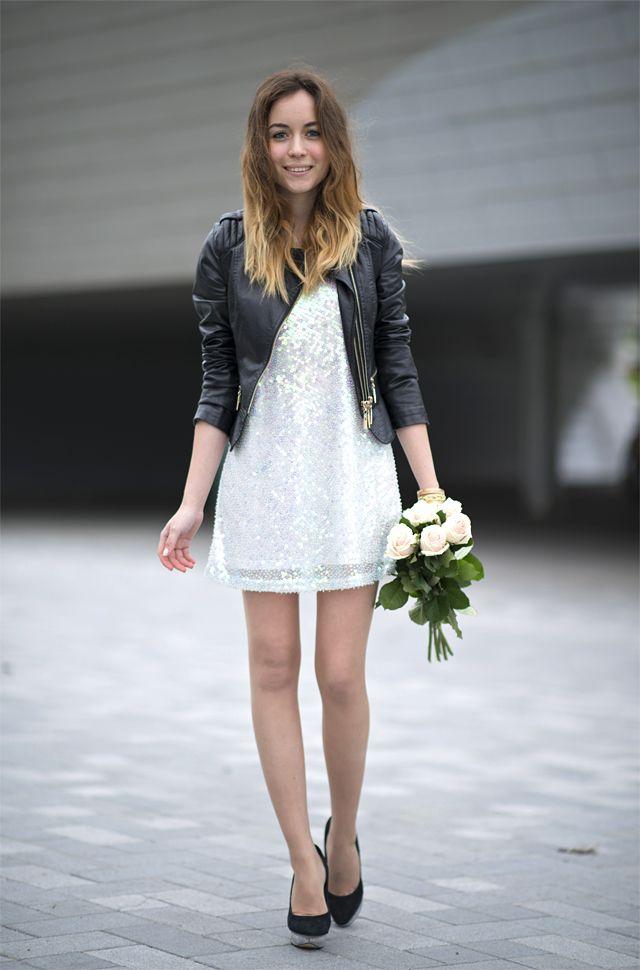 White Dress White Sequin Dress Leather Jacket Leather Jacket With Dress White Sequin Dress Leather Dresses White Sequin Dress Short Dress Black
