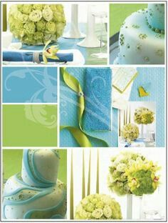 Powder blue and Lime green