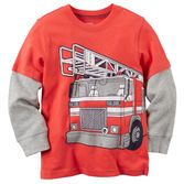 With layered long sleeves and a firetruck screen print, this soft cotton tee is coming to the rescue!<br>