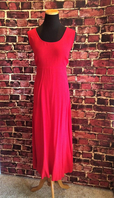 Retro Red 1990's Sleeveless Summer Dress, Sz. 12 by CobbWebbTreasures on Etsy
