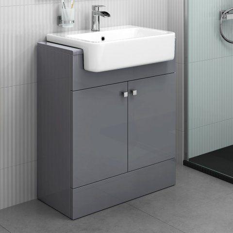 Vanity Unit Bathroom Grey 660mm harper gloss grey floor standing basin vanity unit | vanity
