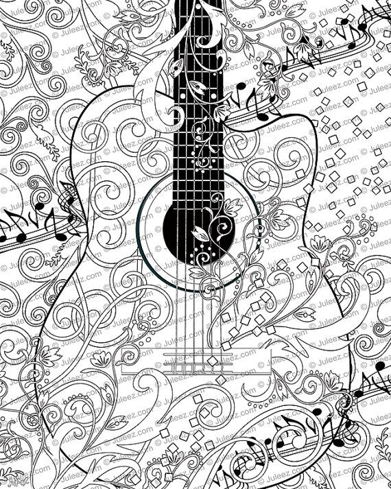 Coloring Poster, Printable, Music Coloring Poster, Instant