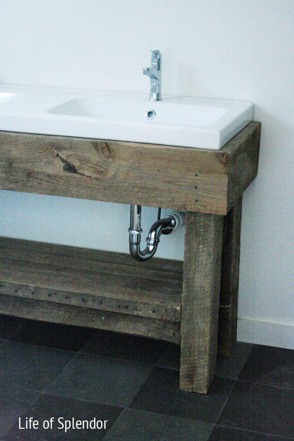 Rustic Style Bathroom Vanities inspired design challenge week 4: anthropologie end table inspired