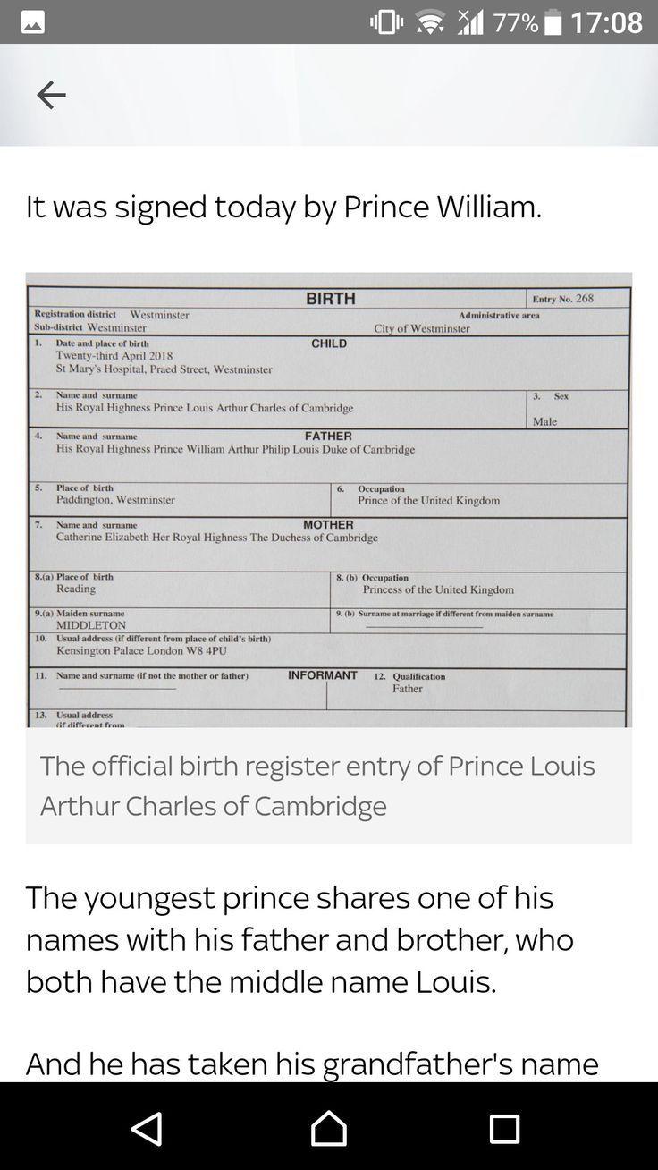 birth certificate prince georges george columbia british louis cambridge william pblog alexander pr