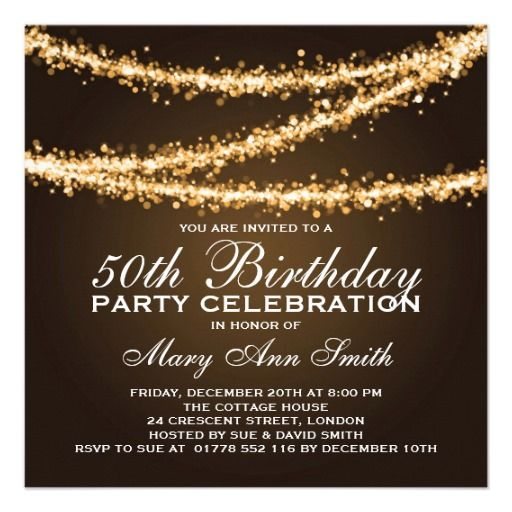 elegant 50th birthday party gold string lights personalized announcements
