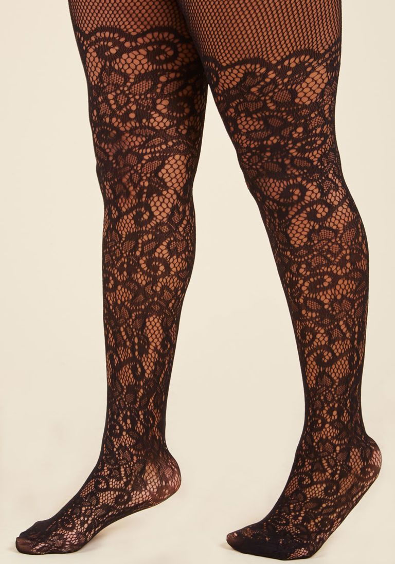 2a4deea76e4b1 Intricately Exquisite Tights in Black | Finishing Touches | Plus ...