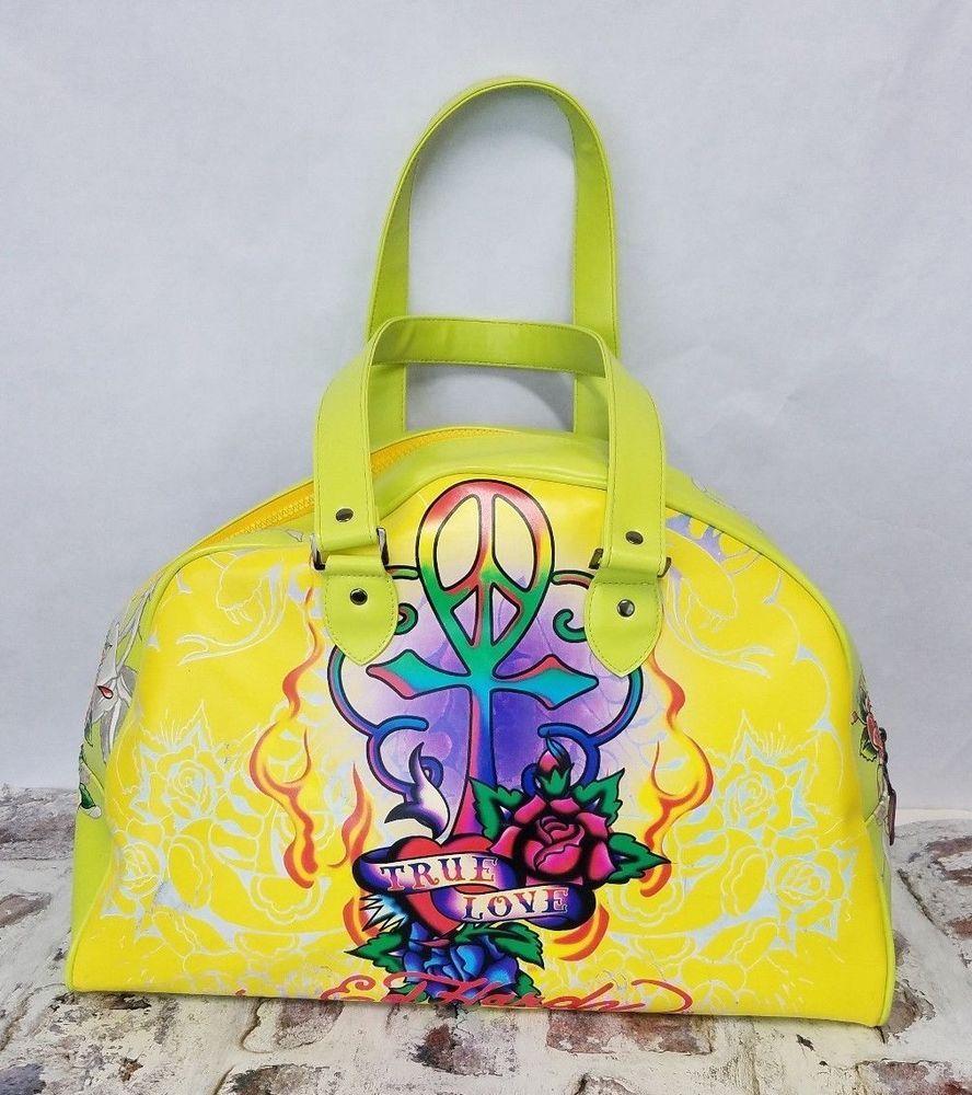 80ec387cd84 Ed Hardy True Love Bowling bag Handbag XL Purse Weekender yellow lime   EdHardy  Weekender