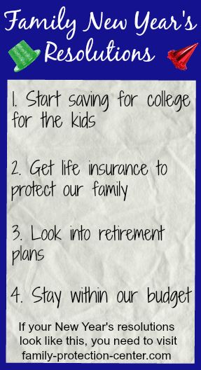Protecting My Family New Years Resolution Saving For College