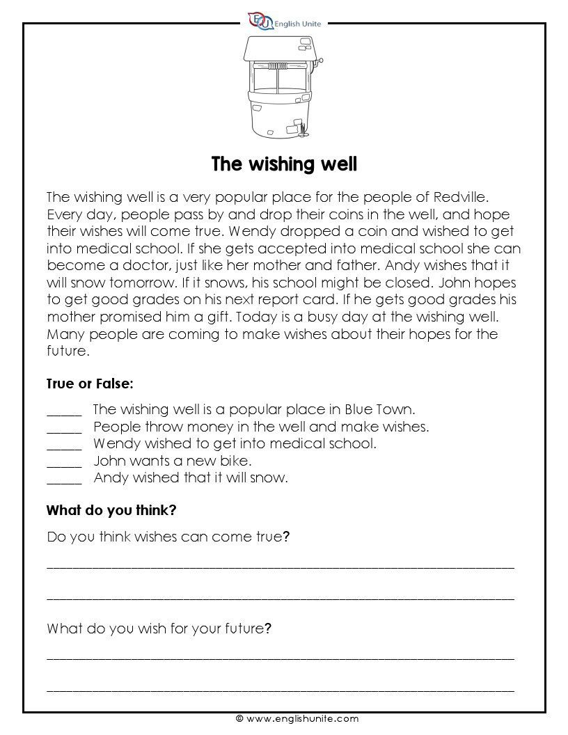 Short Story - The Wishing Well - English Unite   Short reading passage [ 1056 x 816 Pixel ]