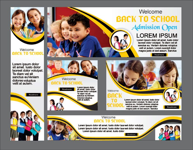 Set Off Welcome Back School Banner Design Free Download Cdr Vector