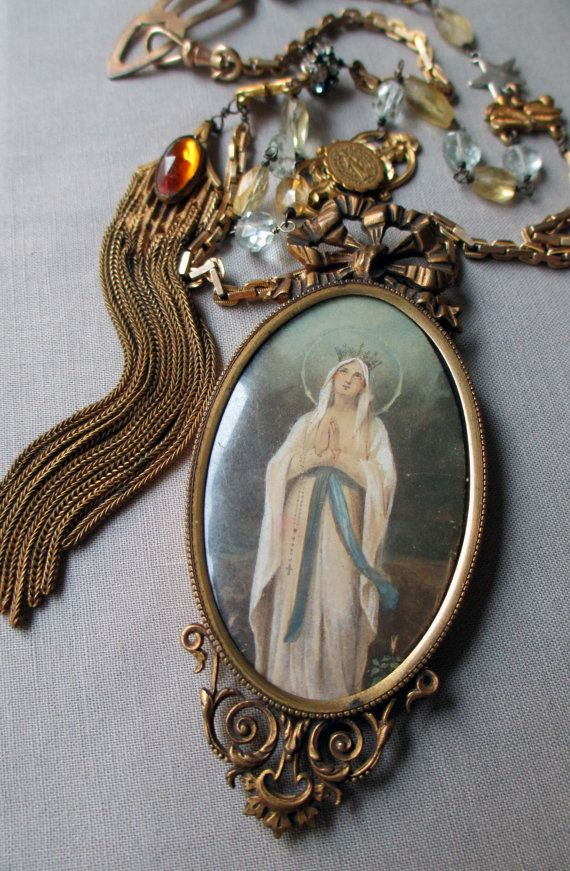 vintage assemblage necklace - our LOVELY LADY - with virgin mary portrait pendant and watch chain by the french circus