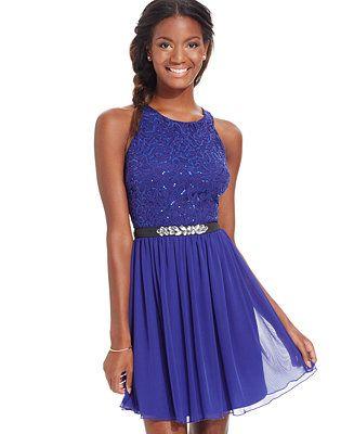 76ecaee3b BCX Juniors' Sequin Lace Jeweled Party Dress - Juniors Homecoming Dresses -  Macy's