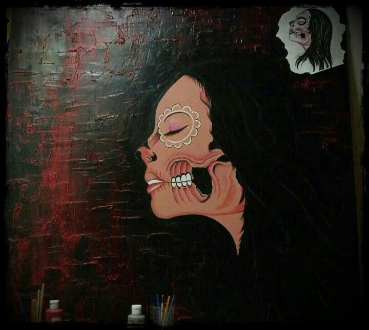4ft x 4ft..... On wood spray paint and acrylics...