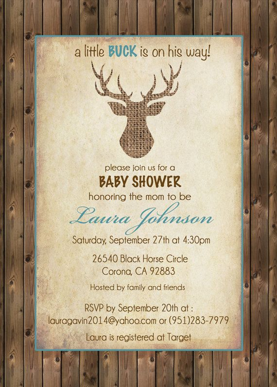 rustic deer baby shower invitation burlap deer wood by silvergaze