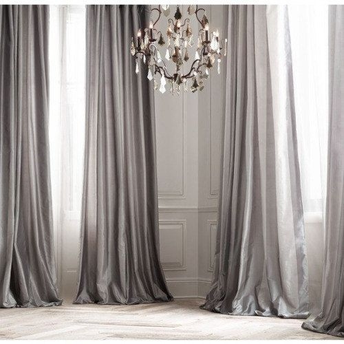PLATINUM SILK curtain dupioni silk grey silver window dressing