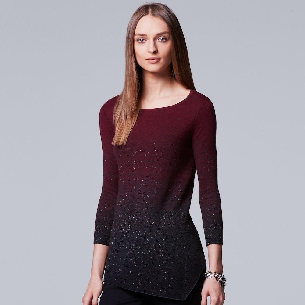 8fb99ef9b4d1d6 Women's Simply Vera Vera Wang Ombre Asymmetrical Crewneck Sweater, Size:  Medium, Dark Red