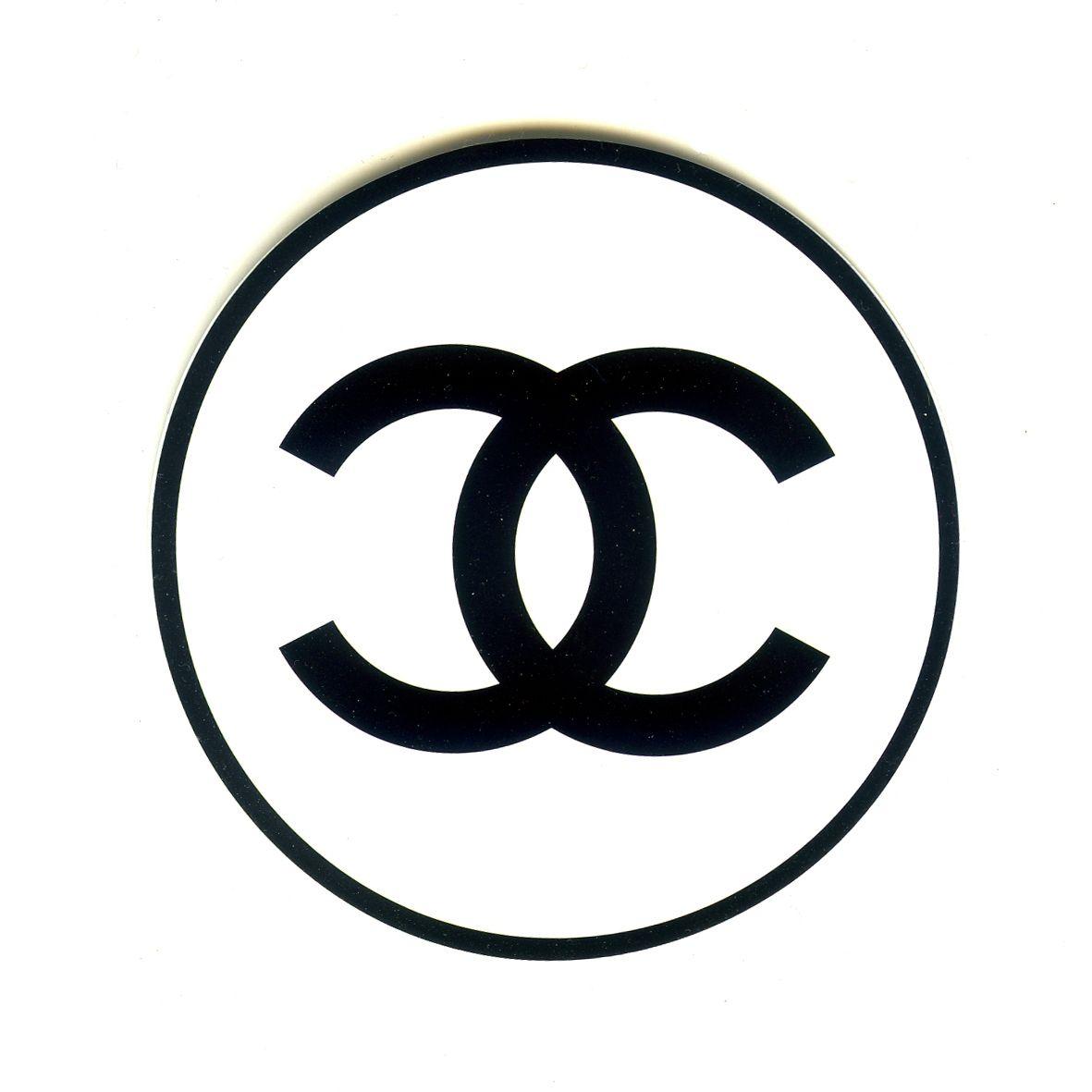 1554 chanel logo black white width 8 cm decal sticker decalstar com