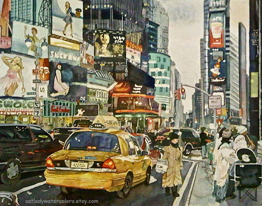 Times Square Watercolor Print. City painting. New York ...