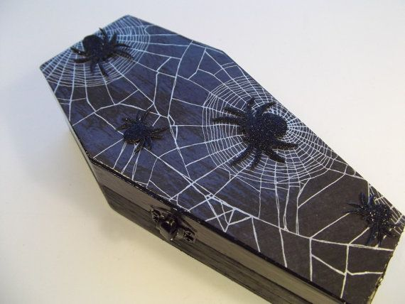 Halloween Casket Coffin Box for Trinkets or Jewelry - Gothic Web Site Spider Coffin