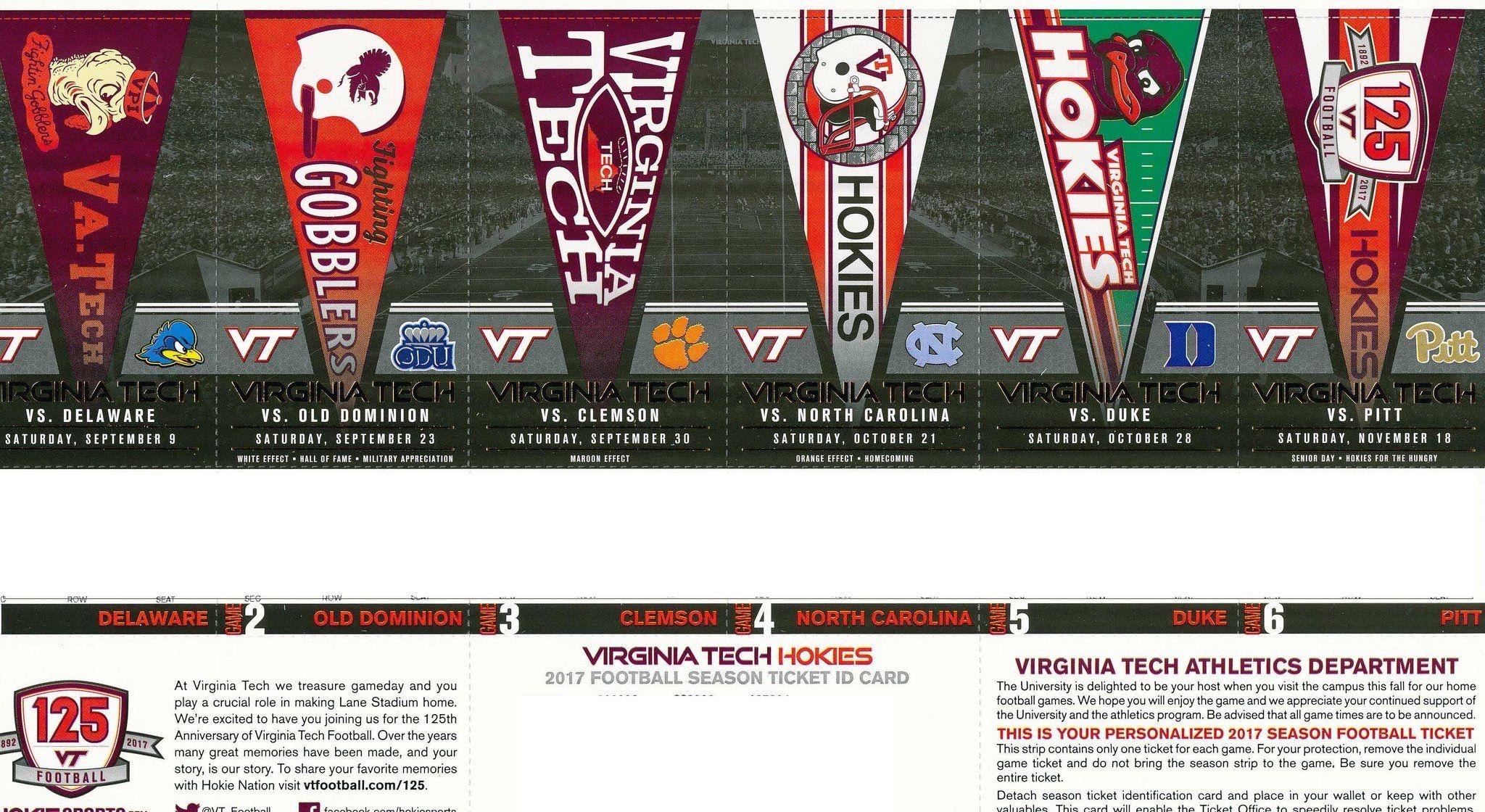 2017 football tickets! Sweet!! Virginia tech football