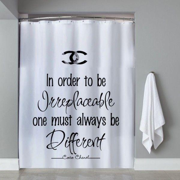 Choco Chanel Quote Shower Curtain Bathroom Decor Pinterest