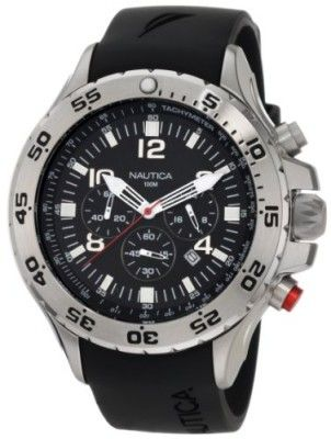 07e7c43a907 Relógio Nautica Men s N14536 NST Stainless Steel and Black Resin Watch   Relogio  Nautica