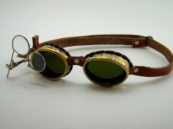 Steampunk Brass Goggles Sunglasses LARP Victorian by BrazenDevice, $49.00