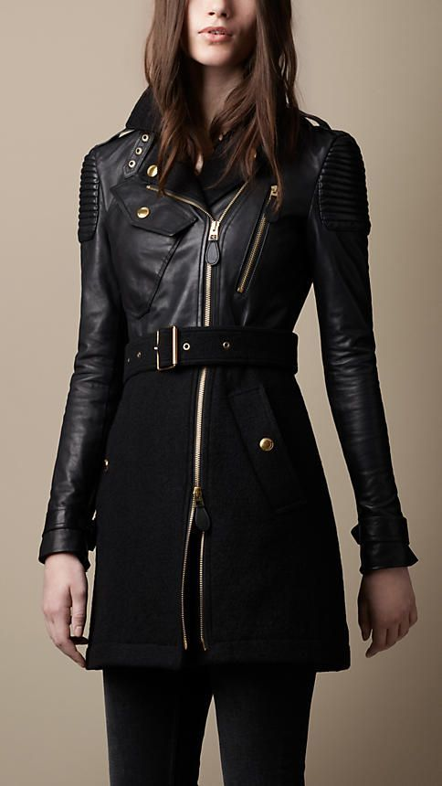 Black leather military trench coat