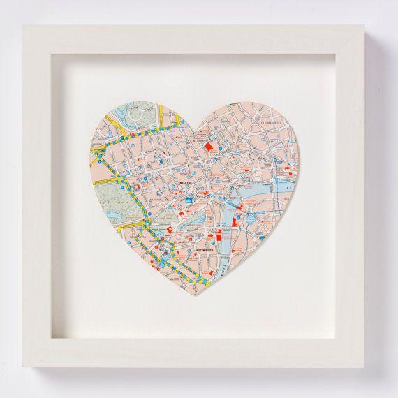 Bespoke Map Heart Trio Artwork By Bombus: Custom Map Art Valentine's Day Gift