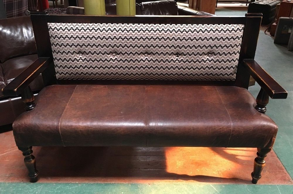 Outstanding Pew Bench 2 Seater Black White Fabric Back Brown Machost Co Dining Chair Design Ideas Machostcouk