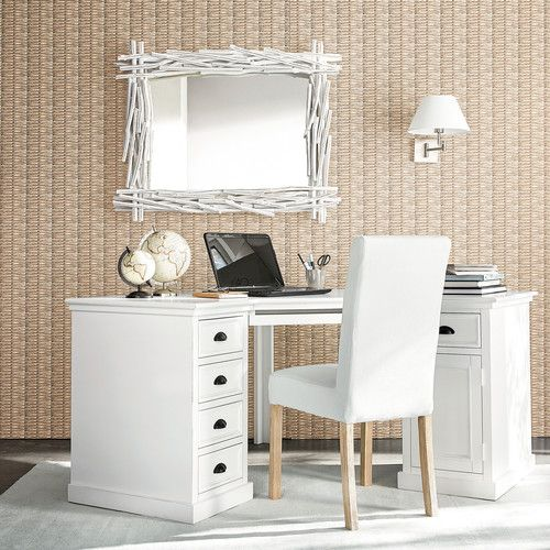 Bureau d\'angle 1 porte 5 tiroirs en sapin blanc Newport | Maisons du ...
