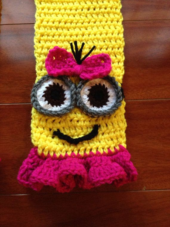 Despicable Me Crochet Girl Pink and Yellow Minion Scarf With Ruffles ...