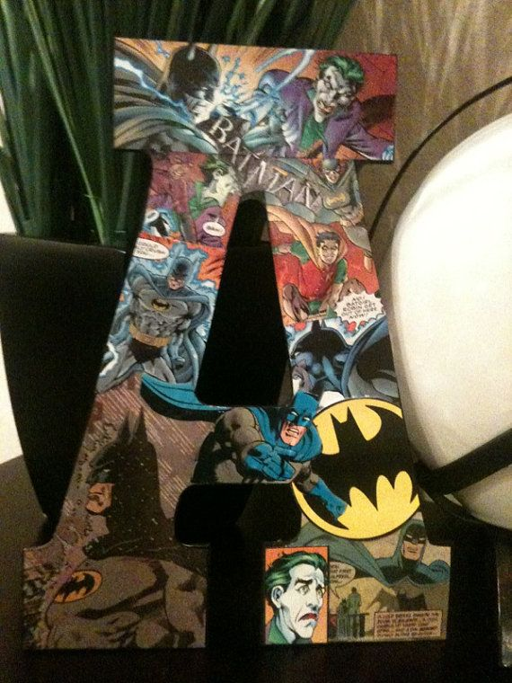 Batman superhero letter room monogram decoration decor for Dark knight mural