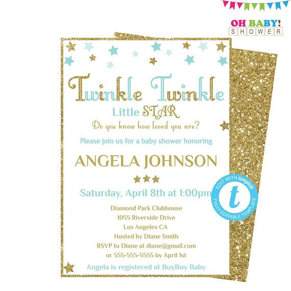 Baby Shower Invitation Template Boy Twinkle Twinkle Little Baby - Pink and gold baby shower invitations template