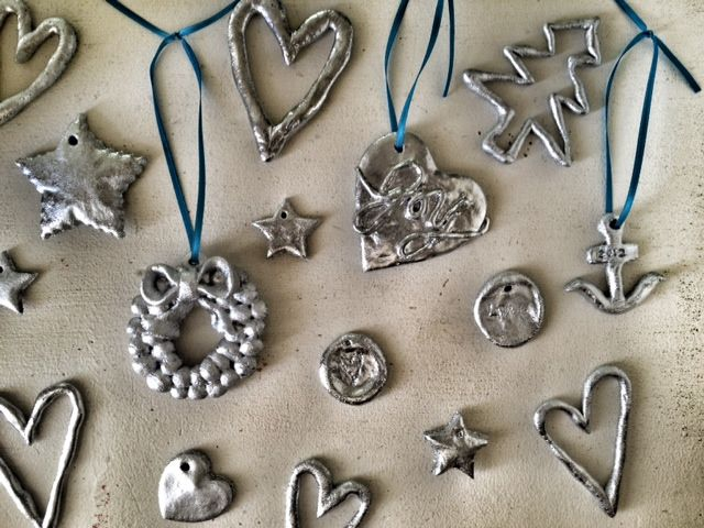 salt dough ornaments, silver spray paint, christmas crafts, christmas with children, handmade christmas ornaments