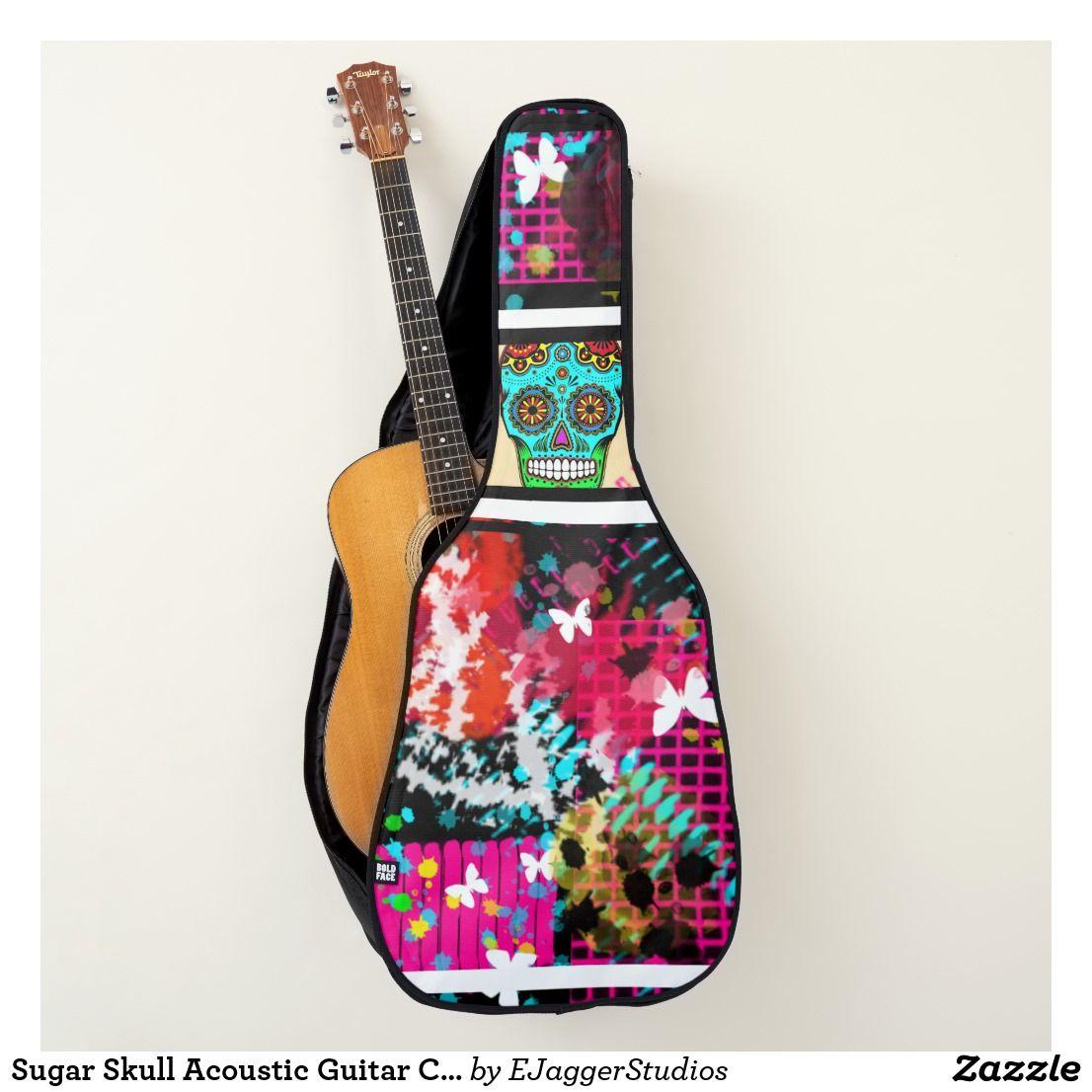 Sugar Skull Acoustic Guitar Case Zazzle Co Uk Acoustic Guitar Case Guitar Case Acoustic Guitar