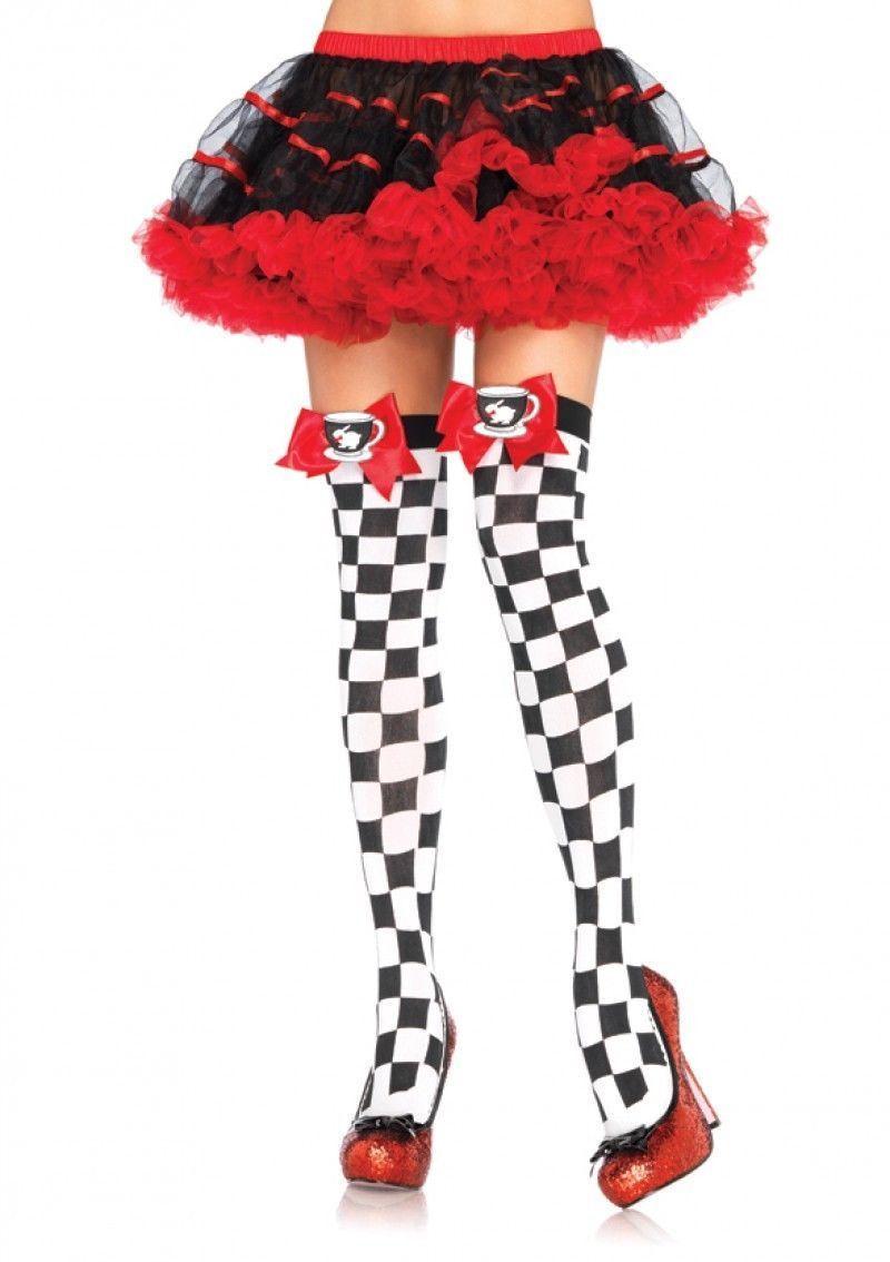 b6fc6b1cc18e9 Leg Avenue Tea Party Black White Checkerboard Thigh Highs With Bow Women  Fashion
