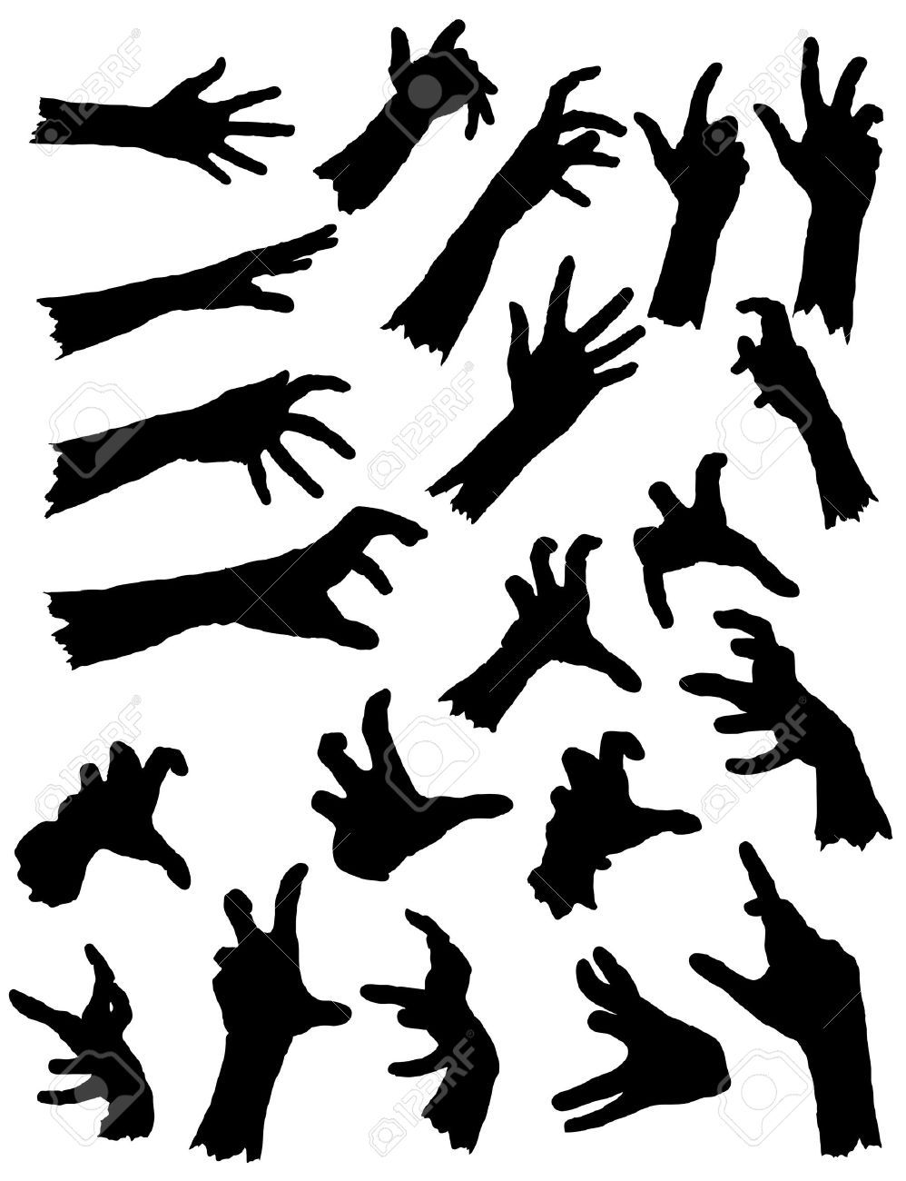 46738268 Collection Of Zombie Hands In Different Poses Stock Vector Hand Jpg 998 1300 Arte De Halloween Pinturas Pequenas Plantillas Graffiti