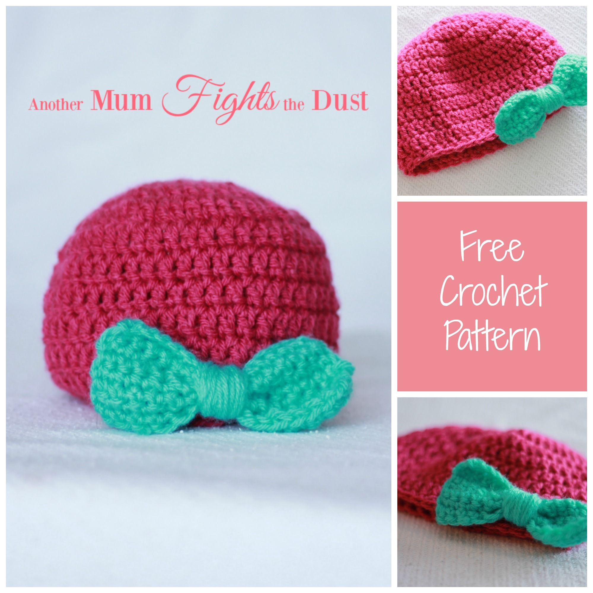 Free crochet baby hat pattern. This adorable baby hat with a bow is ...