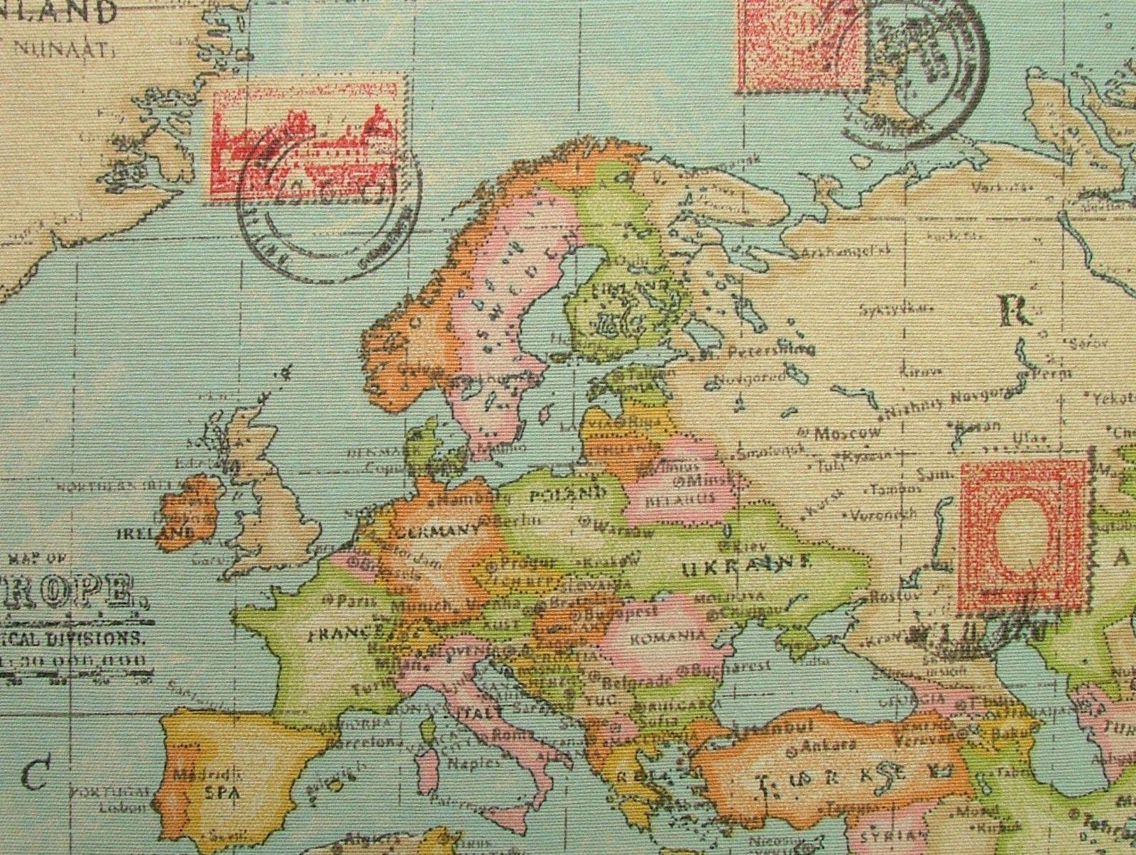 Blue atlas world globe map cotton linen fabric curtain blinds blue atlas world globe map cotton linen fabric curtain blinds craft quiltin 2 gumiabroncs Images